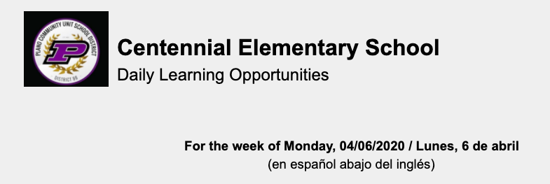 Learning Opportunities - Week of April 6, 2020