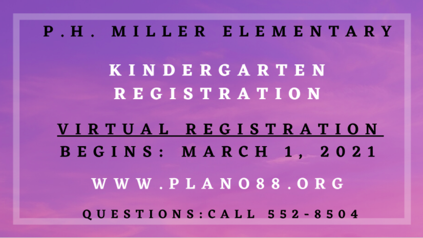 Kindergarten Online Registration March 1-19