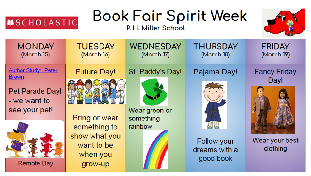 Book Fair Spirit Week Monday 3/15-Friday 3/19