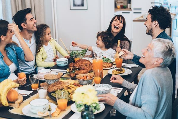Family Enjoying Thanksgiving Meal