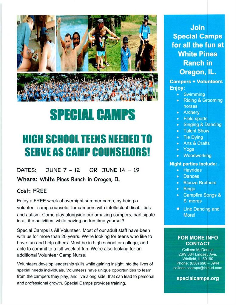 Special Needs Camp - Volunteer Info