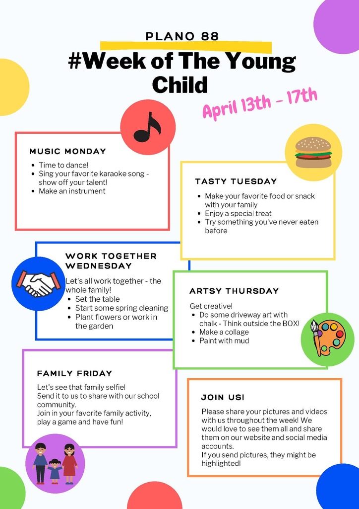 Flyer with daily events for the Week of the Young Child April 13-17.