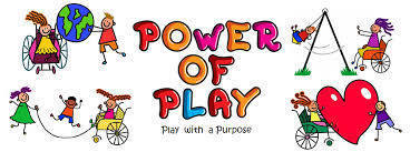 "Colorful cartoon graphic  of children playing and the words ""Power of Play: Play with a Purpose"""