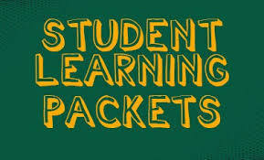 Green rectangle with yellow letters that say 'student learning packets'