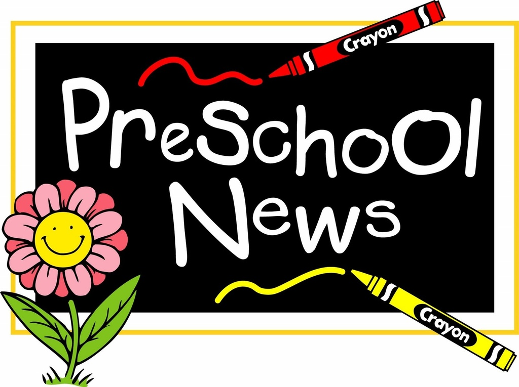 Flower and chalkboard with words 'Preschool News'