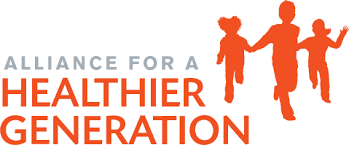 Alliance for Healthier Generation logo--silhouette of three children running