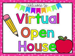 Rainbow letters and banner, apple, pencil and words that say 'Welcome to Virtual Open House""